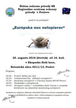 Noc netopierov v Prešove [PO 25.8.2016 o 16:00]