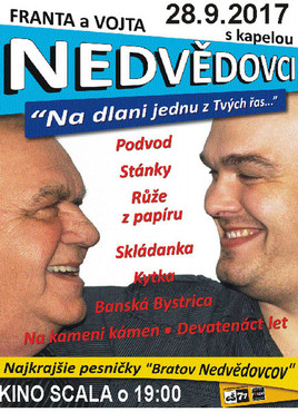 Franta a Vojta Nedvědovci s kapelou [SCALA 28.9.2017 o 19:00]
