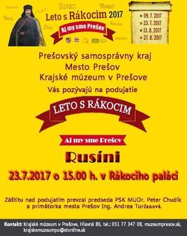 Leto s Rákocim [Krajské Múzeum 23.7.2017 o 16:00]