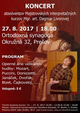 Koncert absolventov Majstrovských interpretačných kurzov Mgr.art. Dagmar Livorovej