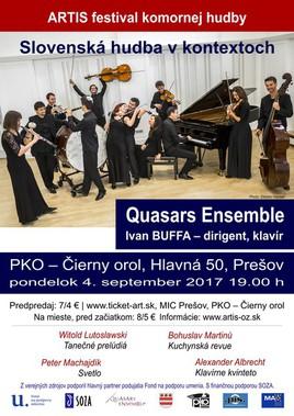 """ARTIS festival komornej hudby 2017: Quasars Ensemble : """"Slovenská hudba vkontextoch"""". [PKO 4.9.2017 o 19:00]"""