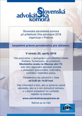 Deň advokácie 2018 [MsÚ  Prešov 25.4.2018 o 09:00]