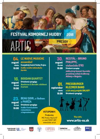 ARTIS festival komornej hudby 2018 [Synagóga 6.8.2018 o 19:00]
