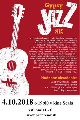 Prešovská hudobná jeseň 2018: Gypsy  jazz SK [PKO 4.10.2018 o 19:00]