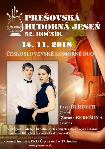 Prešovská hudobná jeseň 2018  Československé komorné duo [PKO 14.11.2018 o 19:00]