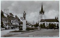 Prešov okolo roku 1933 - Masarykova ulica - Pomník T.G. Masaryka