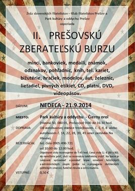 II. Prešovská zberateľská burza [PKO 21.9.2014 o 09:00]