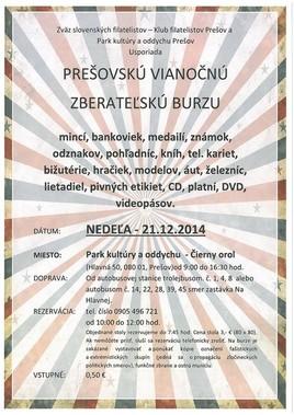 Prešovská vianočná zberateľská burza [PKO 21.12.2014 o 09:00]
